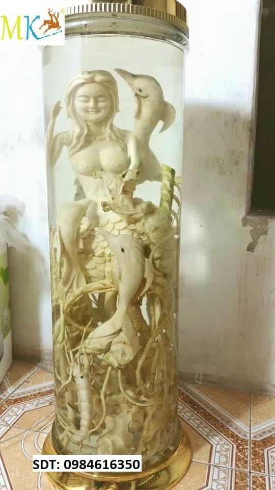 Bình rượu Đinh lăng điêu khắc Long An